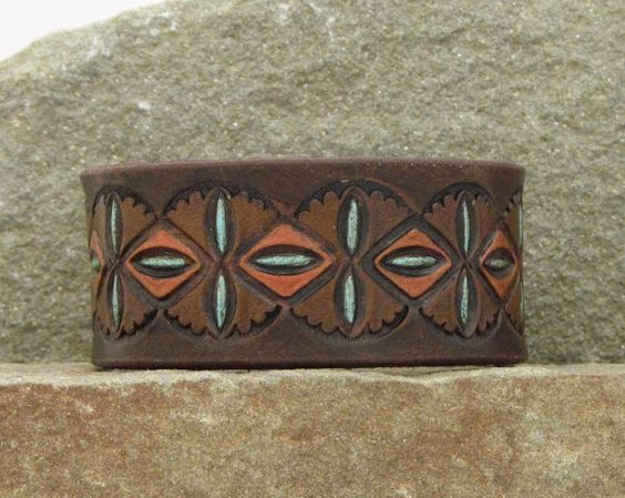 Leather Bracelet / mosaic pattern hand-tooled by BentRiverLeather