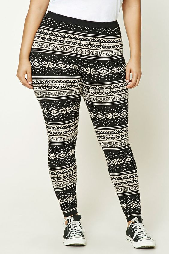 Forever 21+ - A pair of sweater knit leggings featuring an allover ...
