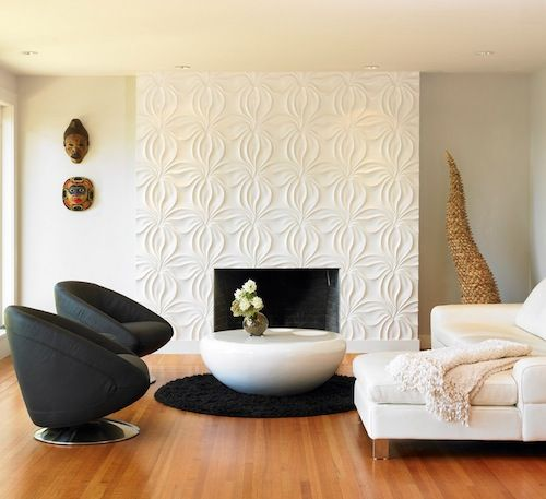 Fireplace surrounds have become more elaborate over the years and what better place to use 3d tile than around your fireplace? Whether you use it in a small quantity around the firebox opening or you decide to tile all the way up to the ceiling a sculptural addition to your living or family room will be welcomed.: