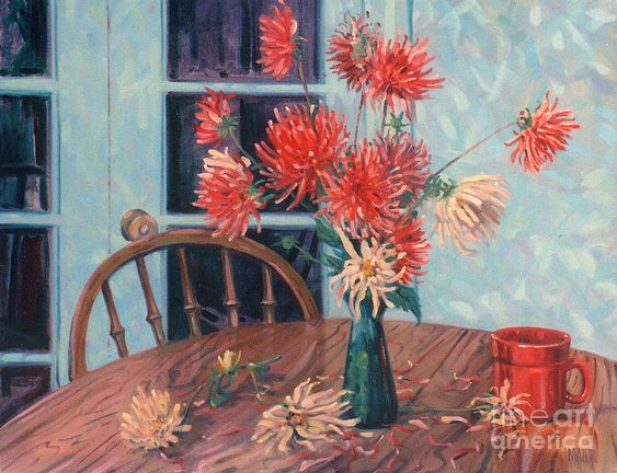 Still Life Painting - Dahlias With Red Cup by Donald Maier