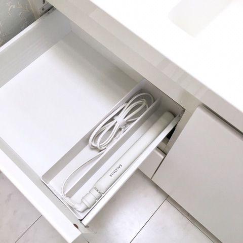 無印良品でヘアアイロンの収納 洗面台にぴったり スッキリ 収納
