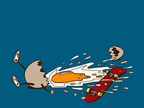 'Egg Skate' Funny Chicken Egg Shattered Yoke After Fall 24x18 - Vinyl Print…