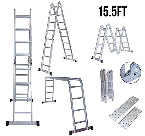 Idealchoiceproduct 15 5 Heavy Duty Gaint Aluminum Multi Purpose Folding Ladder Scaffold Ladders With 2 Platform Plates 330lbs For Sale Folding Ladder Ladder Scaffold Ladder