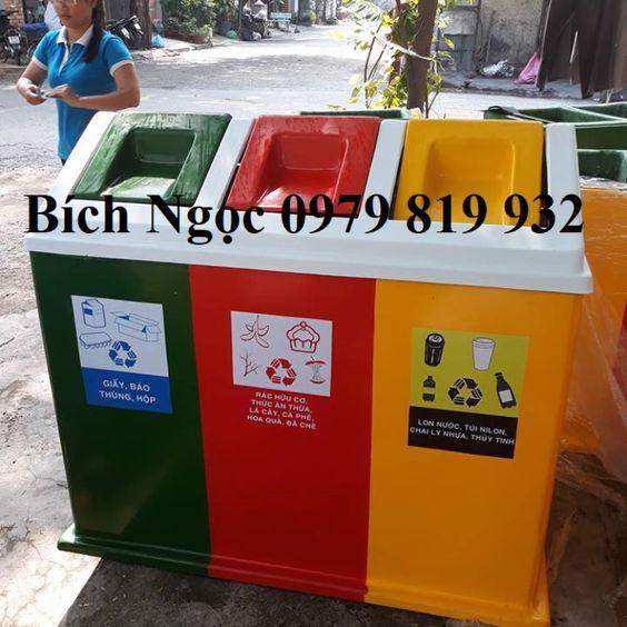 Thùng phân loại rác 3 ngăn 180L