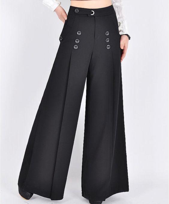 High waist women pants for professional ladies, women wide ...