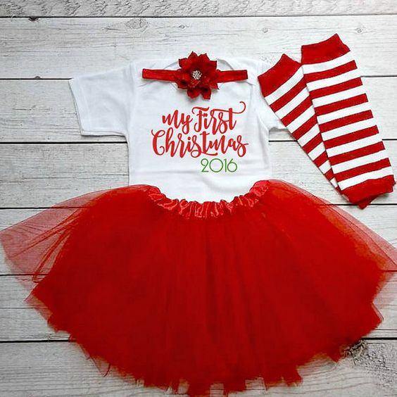 Baby girl christmas outfit My First Christmas by DaliceDesigns