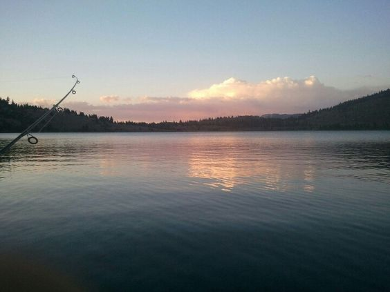 Fishing on June Lake at sunset.
