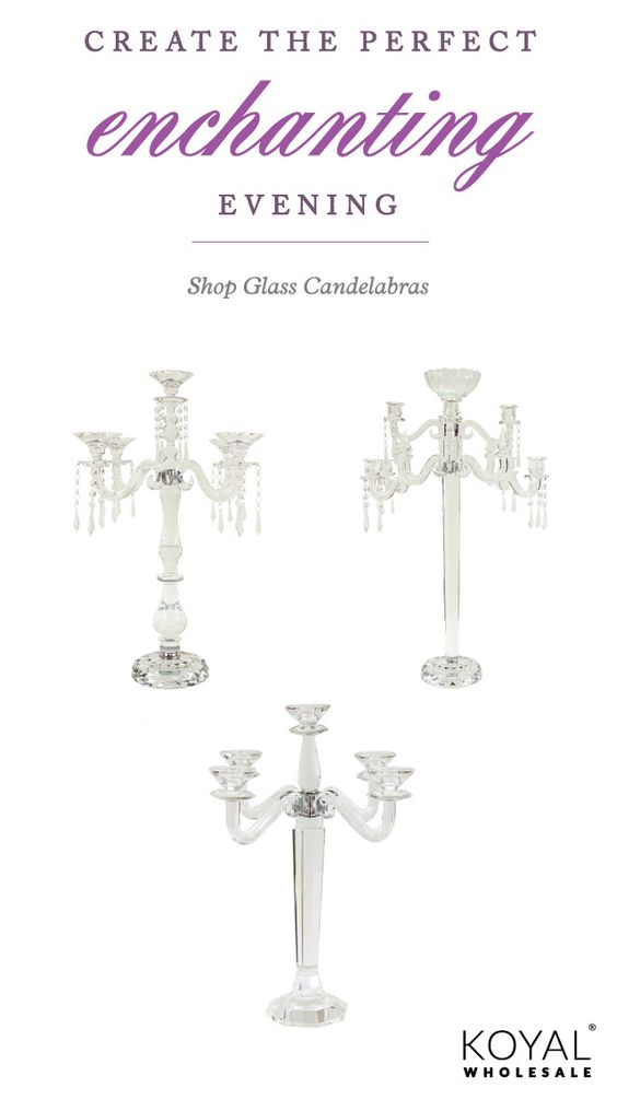I want this!  Crystal candelabras for wedding centerpieces.  Nice designs.