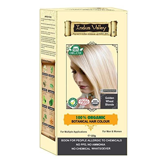 Indus Valley 100 Botanical 100 Organic Golden Wheat Blonde Natural Hair Dye For Sensitive Skin Lactating Women For Allergy Sufferers 120 Gm