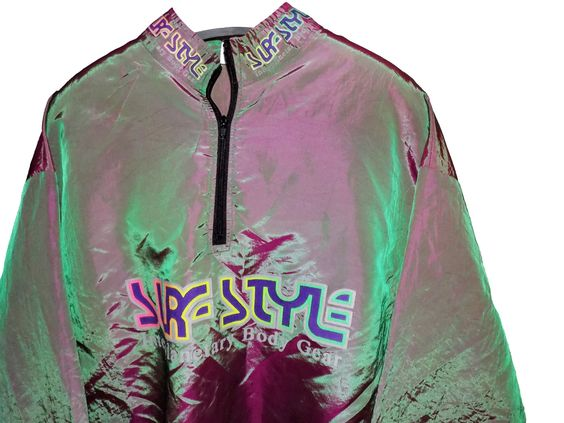 vintage 90s surf style windbreaker jacket / half zip / metallic green / pullover jacket by BLOCKPARTYVINTAGE on Etsy