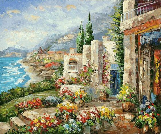 "Wall Art Decorating Ideas Online Paintings Mediterranean Sea Oil Painting Italy, Size: 24"" x 20"", $83. Url: http://www.oilpaintingshops.com/wall-art-decorating-ideas-online-paintings-mediterranean-sea-oil-painting-italy-1911.html"