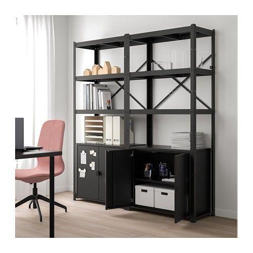 Ikea Bror Black Shelving Unit With Cabinets 306 Basement