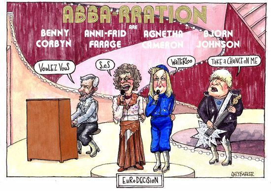 Abbarration Eurodecision #political #cartoon #Jeremy #Corbyn #Nigel #Farage #David #Cameron #Boris #Johnson #EU #Brexit