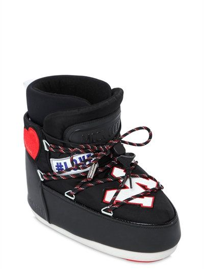 MOON BOOT MSGM - EMBROIDERED PATCHES NYLON SNOW BOOTS - LUISAVIAROMA - LUXURY SHOPPING WORLDWIDE SHIPPING - FLORENCE