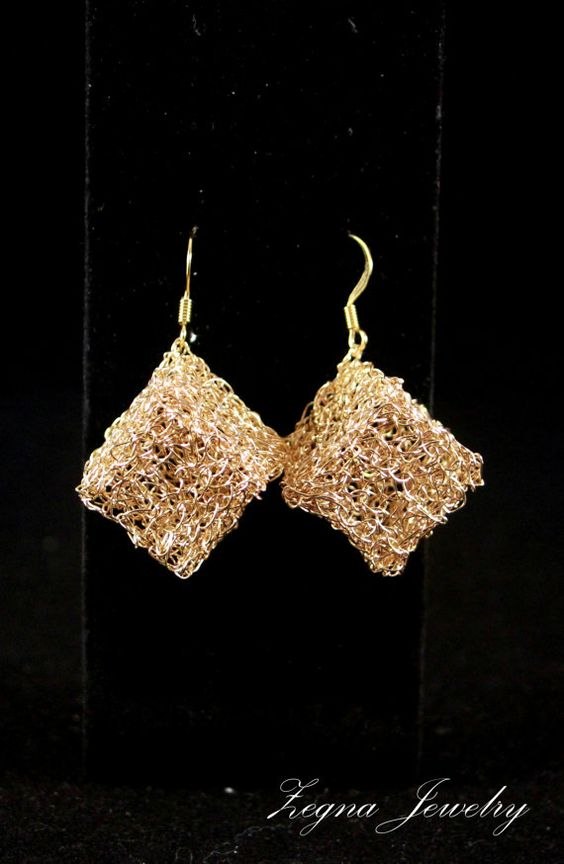 Gold Cubes Earrings  Crocheted by ZegnaJewelry on Etsy