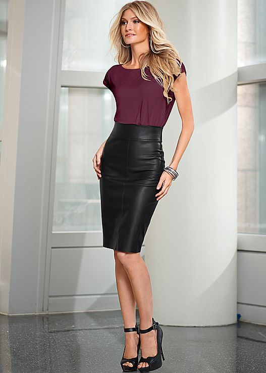 Wine Blouse & Black Pencil Leather Skirt