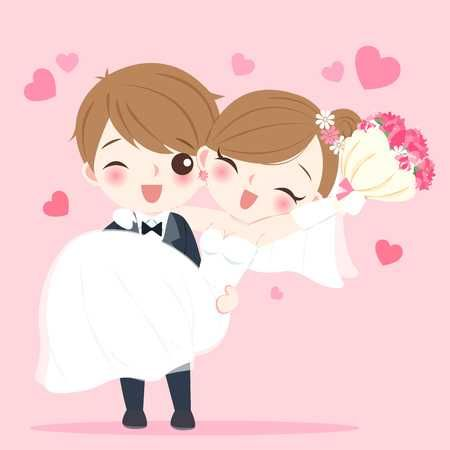 Cute Cartoon Wedding People Smile Happily On The Pink Background Cute Couple Cartoon Wedding Couple Cartoon Cute Love Cartoons