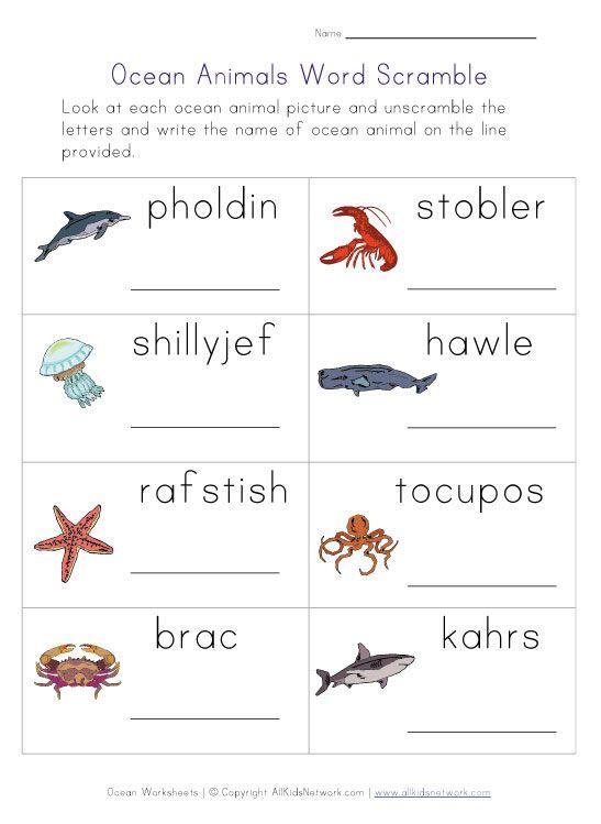 Free Printable Ocean Animals Word Scramble Kindergarten Worksheets Worksheets For Kids Ocean Words Sea animals worksheets for kindergarten