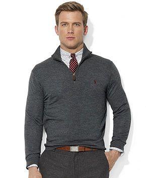 Polo Ralph Lauren Sweater, Half-Zip Mock Neck Merino Wool Pullover - Sweaters -