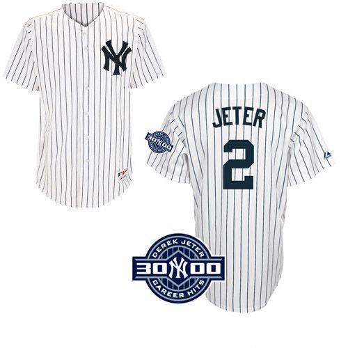 Men S Majestic New York Yankees 2 Derek Jeter Authentic White W 3000 Hits Patch Mlb Jersey Derek Jeter New York Yankees Shop Jersey Fashion