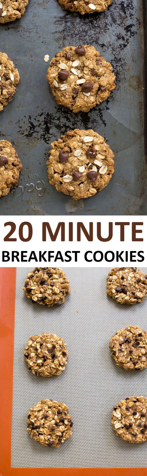Breakfast Cookies loaded with oats, peanut butter and chocolate chips.