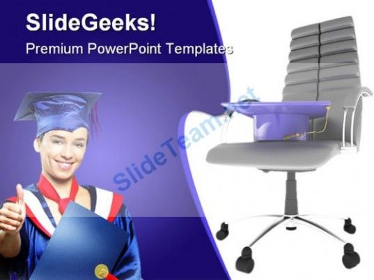 Graduate On Office Chair Business PowerPoint Template 1110 - office powerpoint template