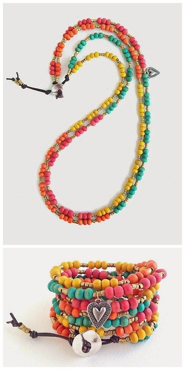 DIY Summer Wood Bead Necklace to Wrap Bracelet Tutorial from... - True Blue Me & You: DIYs for Creative People: