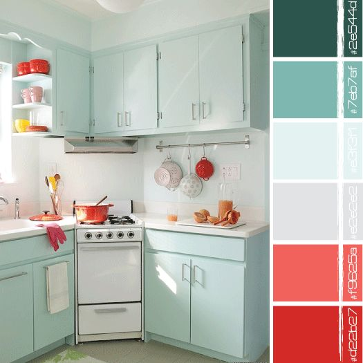 Red turquoise turquoise and red on pinterest for Small retro kitchen