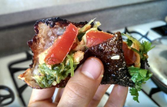 Salmon skin taco. Took my salad, and wrapped it in a pan fried skin from my Atlantic salmon