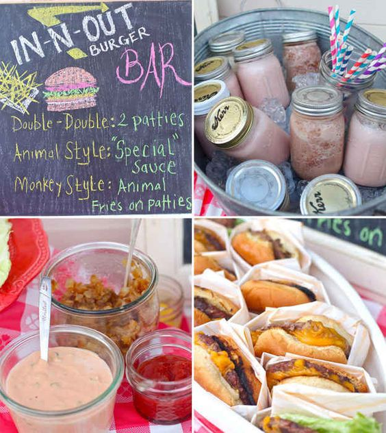 Summer food parties burger bar and summer food on pinterest for Food bar party ideas