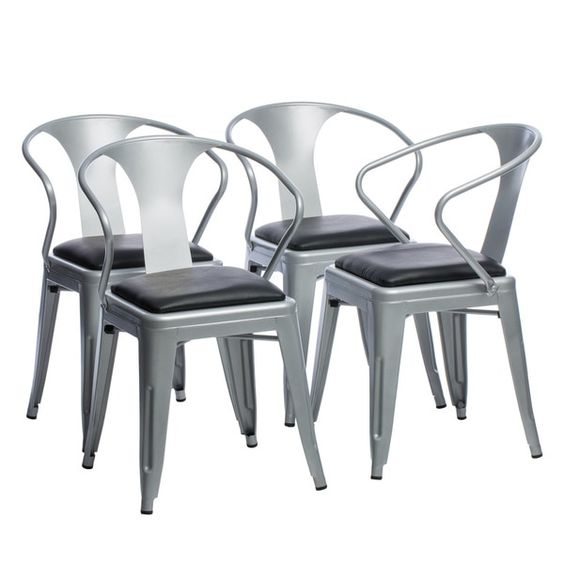 Awesome Padded Silver Tabouret Stacking Chairs (Set Of 4)
