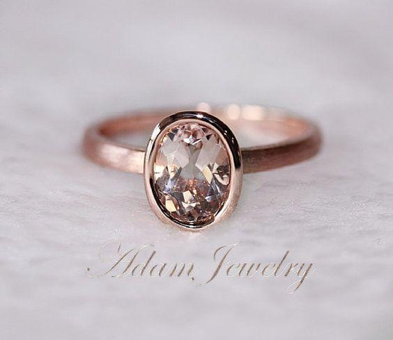 New Bezel Oval 6x8mm VS Morganite Ring14K Rose Gold Engagement Ring