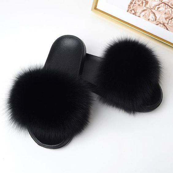 Real Fur Slippers Women Fox Home Winter Fluffy Sliders