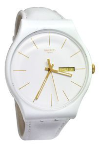 Swatch SUOW703 White Character Gold Day Date Dial Leather Strap Women Watch NEW
