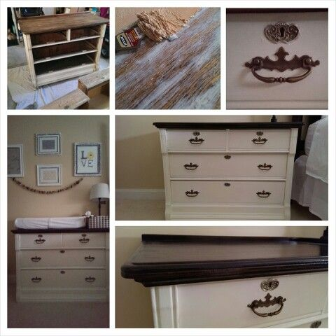 Dresser Before After Stripped Top And Stained Dark Painted With Homemade Chalk Paint In Behr