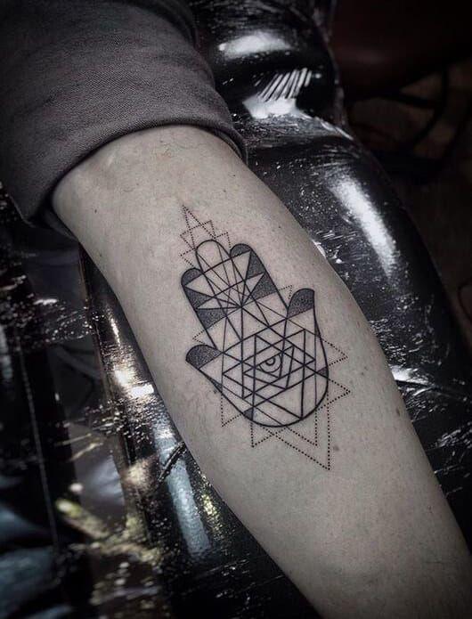 Hamsa Tattoos For Men Tattoos For Guys Geometric Tattoo Geometric Hamsa Tattoo