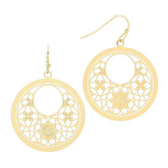 Floral Circle Cut Out Filigree Earrings
