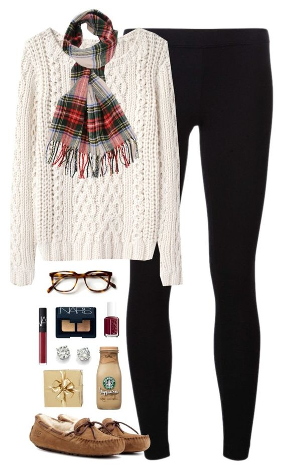 """merry christmas eve & early xmas!!"" by classically-preppy ❤ liked on Polyvore featuring James Perse, Band of Outsiders, UGG Australia, Forever 21, Essie, NARS Cosmetics, Saks Fifth Avenue and H&M"