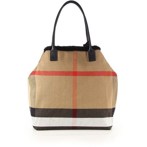 Burberry Lauriston Medium Check & Shearling Tote ($1,595) ❤ liked on Polyvore