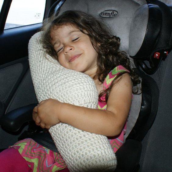 $2.99 Crochet Seat Belt Travel Pillow pattern. This is GENIUS.