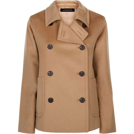 Jaeger Slouchy Pea Coat featuring polyvore women's fashion