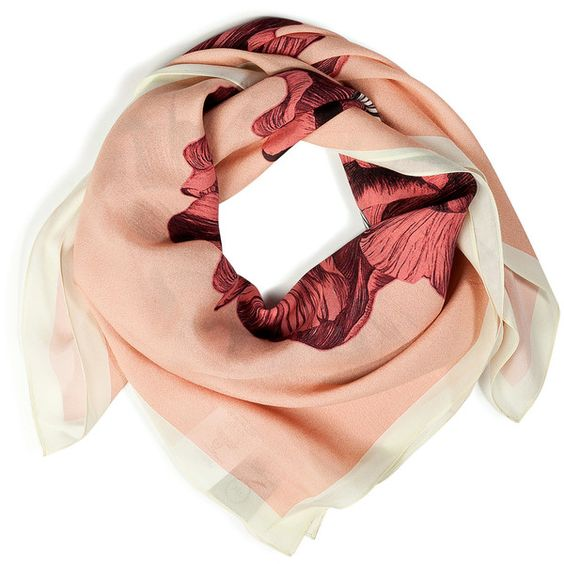 MCQ ALEXANDER MCQUEEN Blush Hand Drawn Iris Silk Scarf ($230) ❤ liked on Polyvore