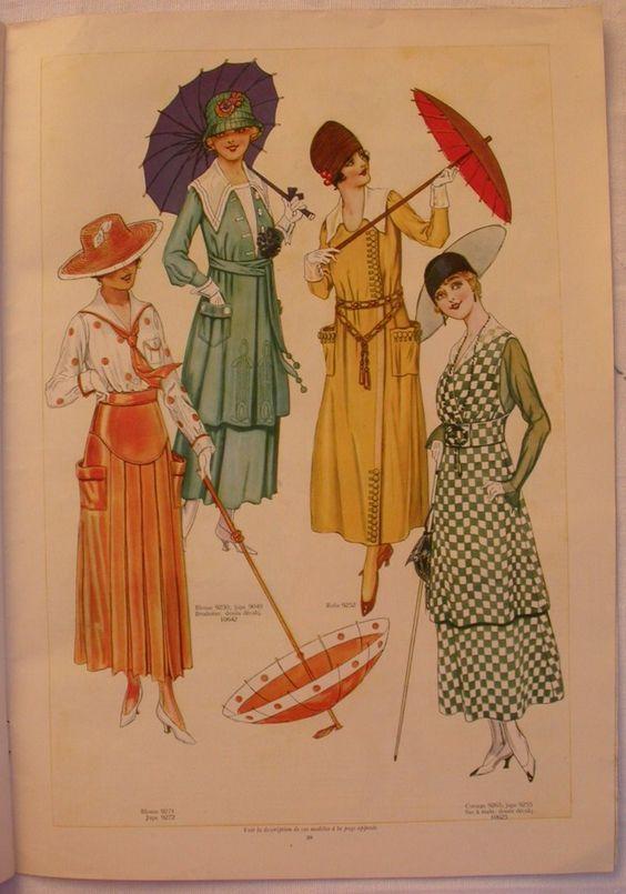 Le miroir des modes juillet 1917 1910s fashion plates for Miroir des modes prints