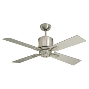 Add contemporary style to your indoor space with this brushed steel ceiling fan. Ideal for smaller spaces such as a master closet, bathroom or eating area.