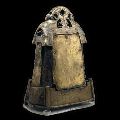 Bell shrine containing an iron hand-bell thought to have belonged to St Cuilean. Glankeen, Co. Tipperary, Ireland. Bell: AD 600–800, shrine: AD 1100–1200. © Trustees of the British Museum
