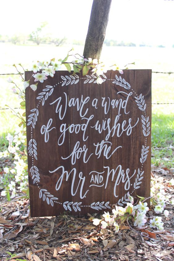 Rustic Wooden Wedding Sign // Wedding Wand Sign by ThePaperWalrus