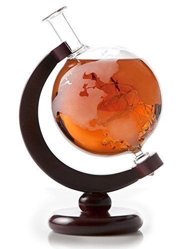 Etched Globe Whiskey Decanter with Glass Ship - 30oz (850ml) for Scotch, Bourbon, Rum, Liquor, Wine The Whiskey Decanter