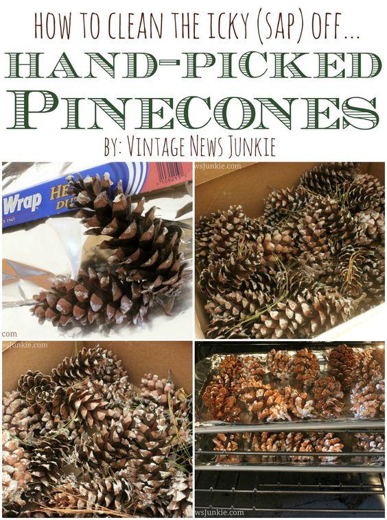 how to get sap off pine cones