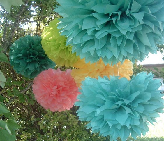 colorful tissue paper pom poms