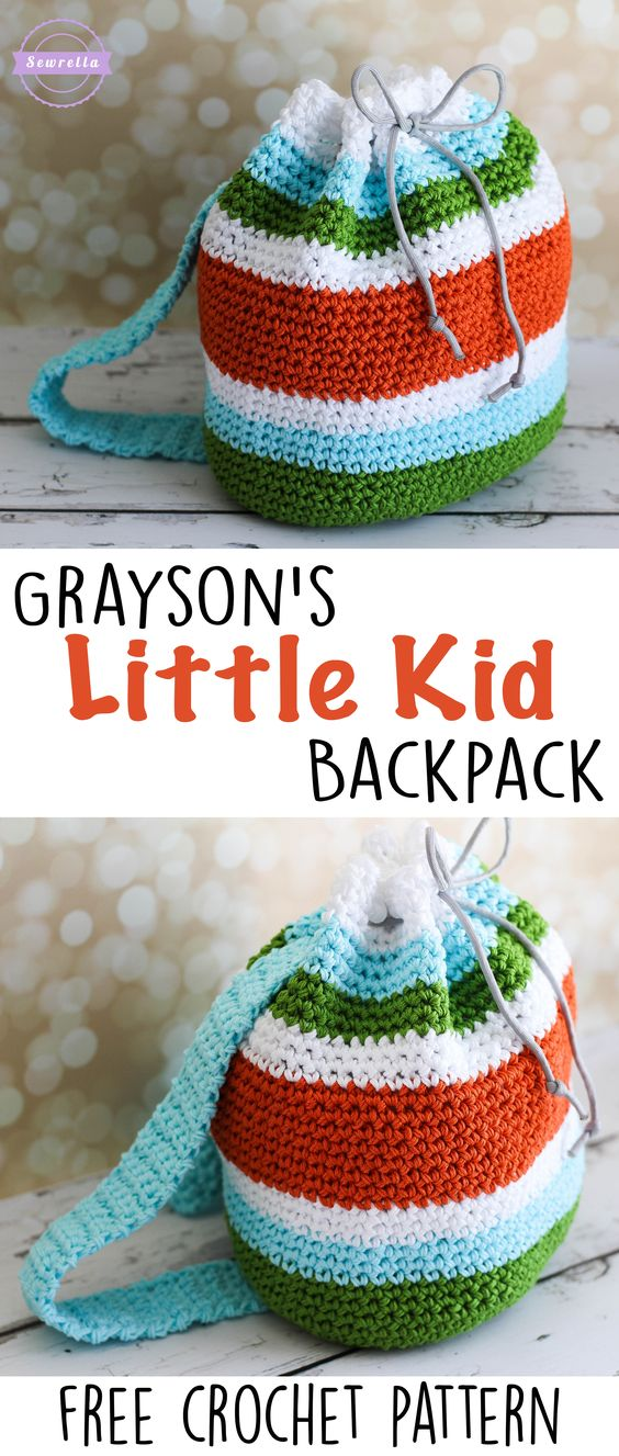 Grayson's Little Kid Backpack | Back to School Series | Free Crochet Pattern from Sewrella: